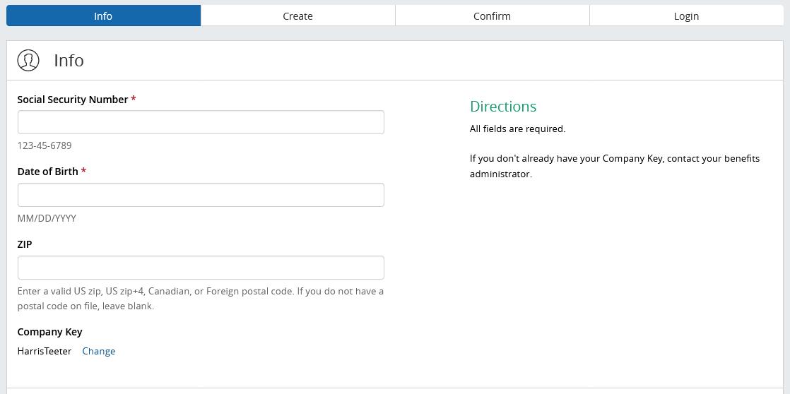 BenefitSolver MyHTSpace Register Screen