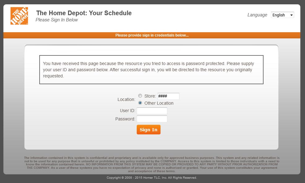 MythDHR Login   Home Depot Your Schedule Login Page