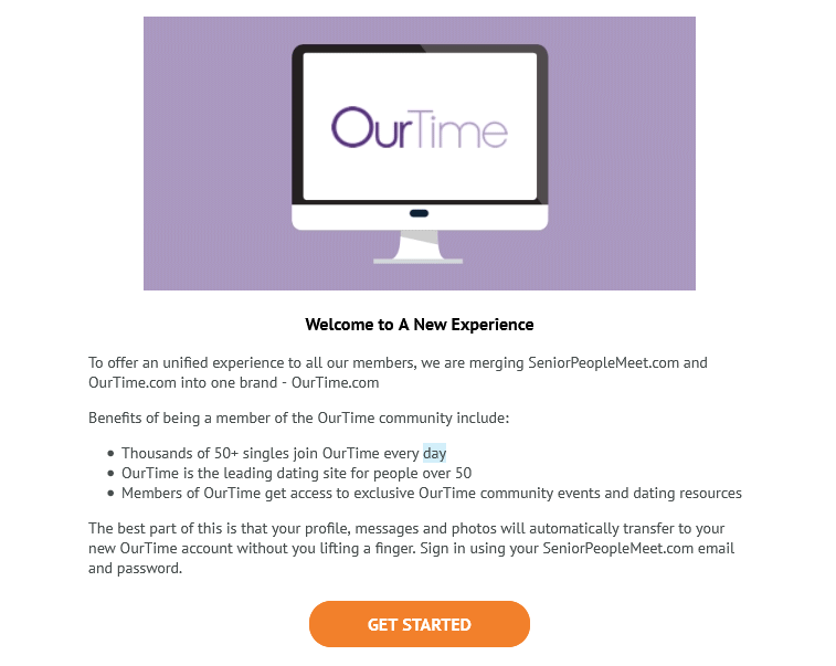 SeniorPeopleMeet redirects to ourtime.com screen