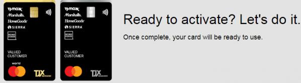 tjx credit card activation steps