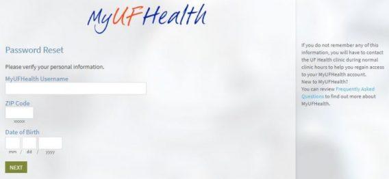 mychart / myuf health forgot password