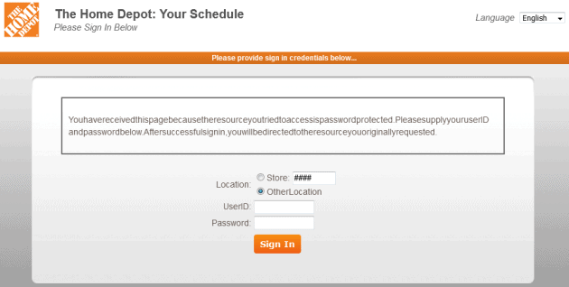 home depot schedule login screen