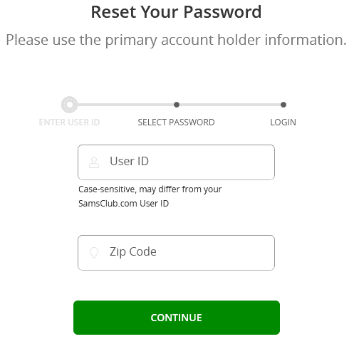 Sam's Club Credit Card forgot / retrieve password instructions