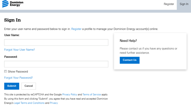 Dominion Energy Sign In Step by step guide