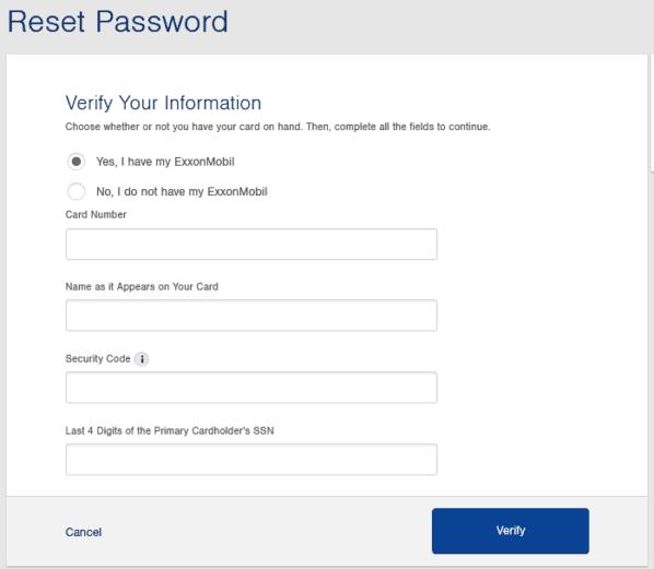 exxonmobilcard reset password