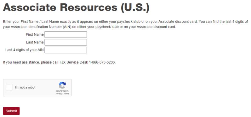 mytjx associate login for USA