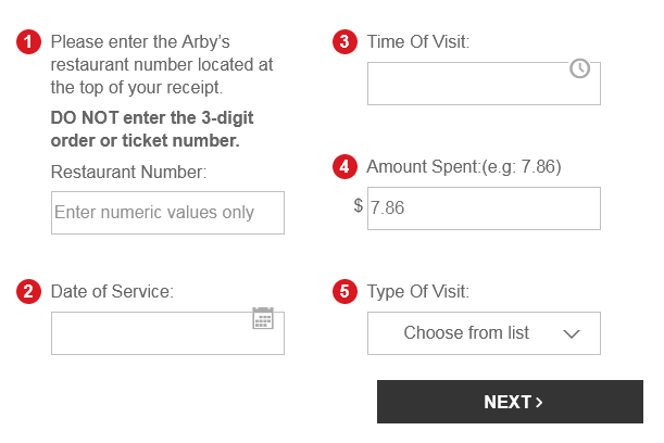 arby's survey to chance win of $1000