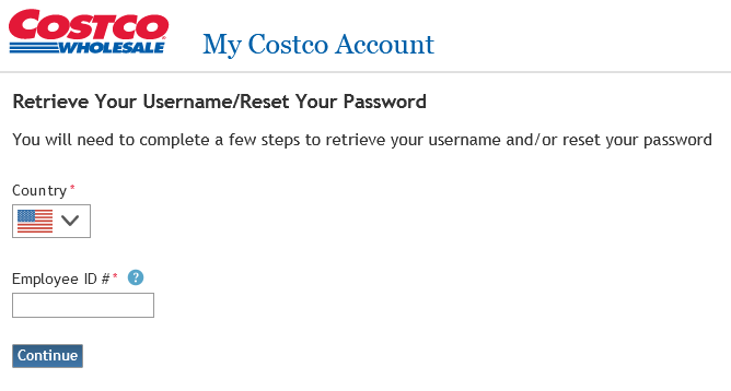 forgot username or retrieve password guide for costco employees