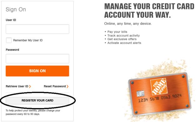 home depot credit card registration