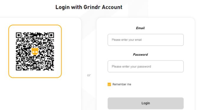Grindr Web Login using QR Code