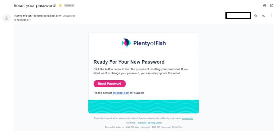 POF Password Reset Email