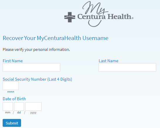 my centura health retrieve username guide