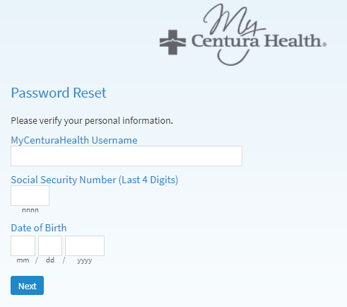 MyCenturaHealth Retrieve Password Instructions